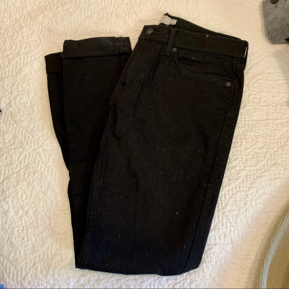 men's top man black denim jeans with cuff ankle
